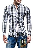 BOLF Langarm Herrenhemd Hemd Figurbetont Freizeit Slim Fit 4791