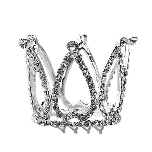 PIXNOR Blumenmädchen Strass Diademe Herz Krone Haarreif mit Haarkamm (Silber)