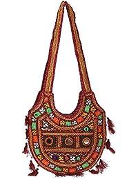 Women's Embordierd Multi Coloured Shoulder Bag/Traditional Bag/Jhola/Jaipuri Rajsthani Bag - B07D7FN7P1