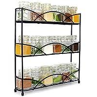 3 Tier Herb & Spice Rack Organiser | Free Standing Non-Slip Modern Design | Universal Design | Kitchen & Pantry Storage Solution | M&W Black