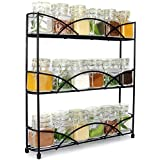 3 Tier Herb & Spice Rack Organiser | Free Standing Non-Slip Modern Design | Universal Design | Kitchen & Pantry Storage Solution | M&W (Black)