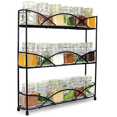 Maison & White 3 Tier Herb & Gewürzregal Organizer | Frei stehendes rutschfestes modernes Design | Universelles Design | Kitchen & Pantry Aufbewahrungslösung |Schwarz -