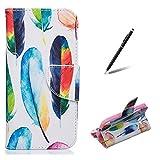 Feeltech Coque pour Samsung Galaxy Core Prime G360 Folio PU Cuir Portefeuille Magnétique Pliant Fermeture Coloré Peinture Conception Plein Corps Protection Housse - Coloré Plumes