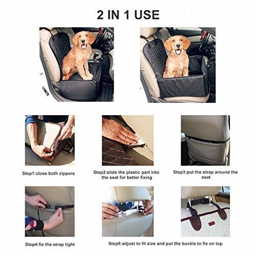 Hundetransportbox Autositzbezug Autoschutzdecke Hängematte Autositz für Haustier Hund Katze Pet Vodersitzbezug (Schwarz) - 5