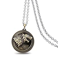 Game of Thrones House Stark Wolf Pendant Necklace Jewelry for Men - Bronze