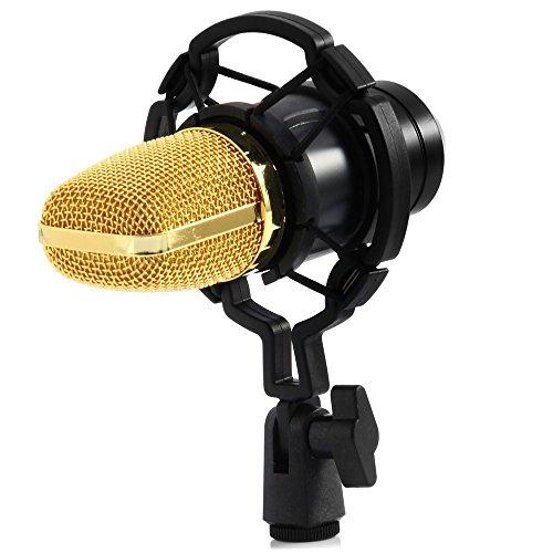 caxmtu condensador grabación de sonido Micrófono con montaje de choque para Radio Braodcasting