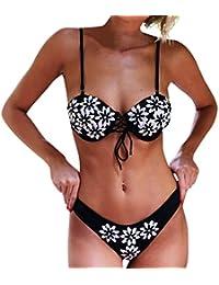 beautyjourney Maillot De Bain Blanc, Femmes Bikini Ensemble Imprimé Haute Taille Maillot Maillots De Bain Maillots Maillot Micro String Bikini (S, Rouge)