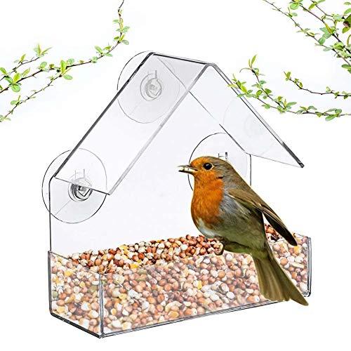 LJXiioo Window Bird Feeder - Starke 3 Saugnäpfe zum Aufhängen von Wild Bird Feeder - Durchsichtiges Acrylgehäuse