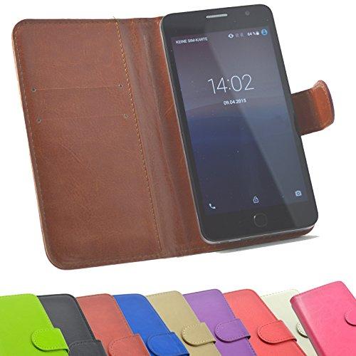 2 in 1 Set TP-Link Neffos X1 MAX Smartphone Handyhülle Handy Tasche Slide Kleber Schutz Case Cover Etui Schutzhülle Handytasche Book Style + Touch Pen in Braun Farbe - 5.5