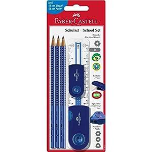 Faber-Castell Sleeve 217067–Set de material escolar grande, 6piezas con regla, color azul