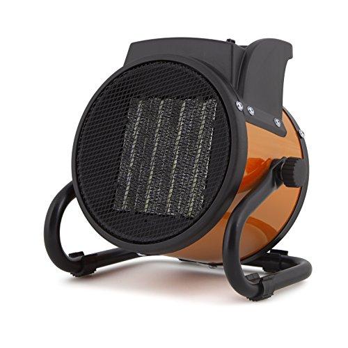 Orbegozo FHR 2040 Calefactor cerámico profesional, 2000 W, 2 potencias de calor, protección contra sobrecalentamiento y cuerpo metálico, Negro, Naranja