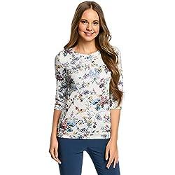 oodji Ultra Damen Sweatshirt mit Rundem Ausschnitt und 3/4 Arm, Weiß, DE 36 / EU 38 / S