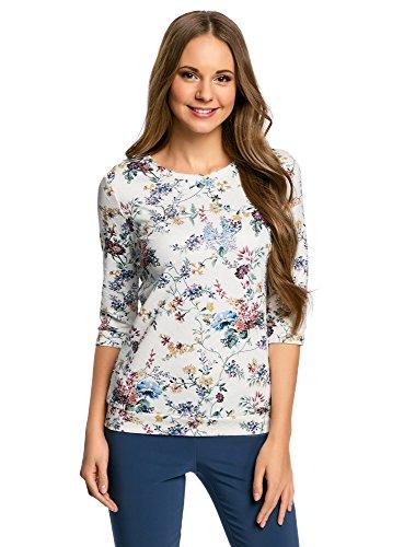 oodji Ultra Damen Sweatshirt mit Rundem Ausschnitt und 3/4 Arm, Weiß, DE 34 / EU 36 / XS
