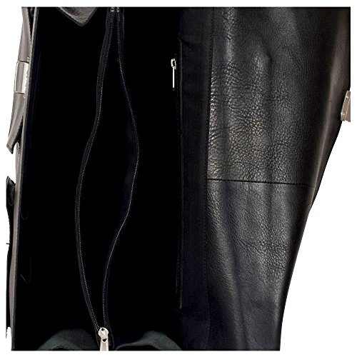 manbefair FAIR TRADE Öko Leder Aktentasche Charles Messenger Laptoptasche Umhängetasche Lehrertasche (Antik Braun geölt) 42x34x20 cm (BxHxT) Schwarz