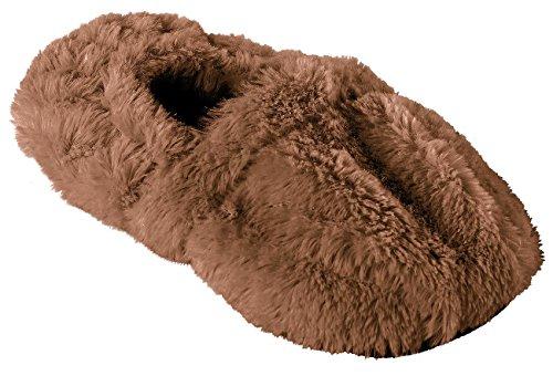infactory Socken: Aufwärmbare Flausch-Pantoffeln mit Leinsamen-Füllung, Größe 36-38 (Schuhe Mikrowelle) -