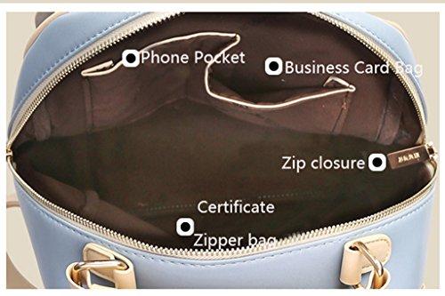 MinetomCouleurs De Bonbons Conception Clamshell PU Cuir Sac À Dos Loisir Multi-Fonction Voyages Scolaire Backpack Femme Bleu