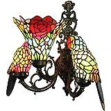 BEAR&MH Lámpara de Pared de Estilo Tiffany, luz de Pared de Tres Cabezas de Loro
