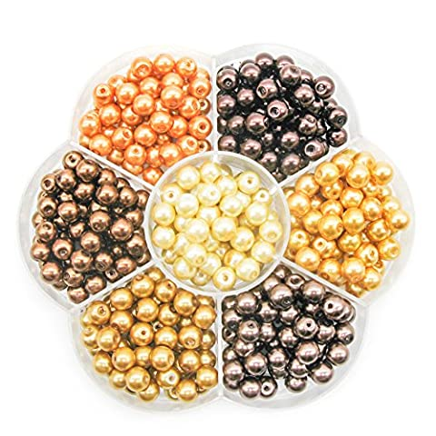 TOAOB 6mm Round Glass Pearl Beads Mixed Colour with Box Pack of 350pcs