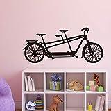 zxddzl Romantico Tandem Bike Vinile Wall Sticker Dolce Bicicletta Art Decalcomanie Home Decor per Soggiorno Decorazione della Parete