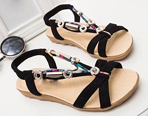sandales femmes été sandales à bout ouvert fleurs femelles perlés sandales plates Black