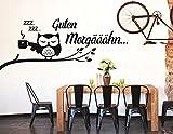 tjapalo® S-pkm83 Wandtattoo Büro Küche Esszimmer Wohnzimmer Guten Morgen Eule mit Kaffeetasse (B130xH50 schwarz oder Farbe nach Kauf senden)