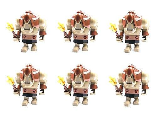 LEGO CASTLE - 6 Stück Sammelfiguren - seltene Riesentrolle - Ork aus Set 7036 (Zwergenmine) + goldene Keulen - zum Knüllerpreis (Lego Krieger Waffen)