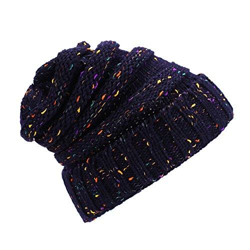 Tejido de Punto, Sombrero Cálido - iParaAiluRy de lujo de moda suave Slouchy Cap Beanie sombrero en invierno y primavera - unisex (Armada-1)