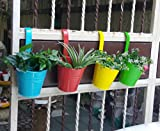 #8: Wonderland Set of 4 hanging railing buckets In Blue, Red, Yellow & Green
