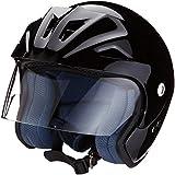 Protectwear Motocicleta Casco Jet SB05 negro brillante con visor claro y escudo Tamaño XL