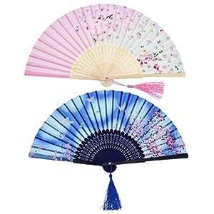 2 Stücke Folding Fans Hand Fans Bambus Fans mit Quaste Frauen Ausgehöhlten Bambus Hand Halten Fans für Wanddekoration, Geschenke (Blau Schmetterling und Rosa Kirschmuster)