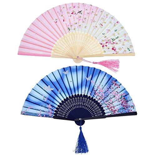 2 Stücke Folding Fans Hand Fans Bambus Fans mit Quaste Frauen Ausgehöhlten Bambus Hand Halten Fans für Wanddekoration, Geschenke (Blau Schmetterling und Rosa Kirschmuster) -