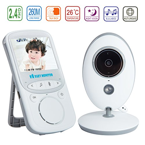 Video Baby Monitor with Camera 2.4″ Color LCD Display VOX Mode 2.4 GHz For Signal Transmission / Two-way Talk / Night Vision / 8 Lullabies / Temperature Monitoring / Long Bettery Life for Baby/Old/Pet by Discoball 516ISvvgMqL