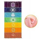 Jeteven - Tapiz/toalla de playa con diseño de chacras y los colores del arcoíris - Decoración para el hogar - 150x 75cm
