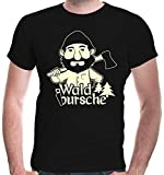 buXsbaum Herren T-Shirt Waldbursche | Waldarbeiter Förster Holzfäller | XL, Schwarz