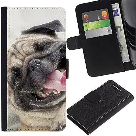Pug Happy Smiling Dog Pet Canine Fawn - la tarjeta de Crédito Slots PU Funda de cuero Monedero caso cubierta de piel Sony Xperia Z1 Compact D5503