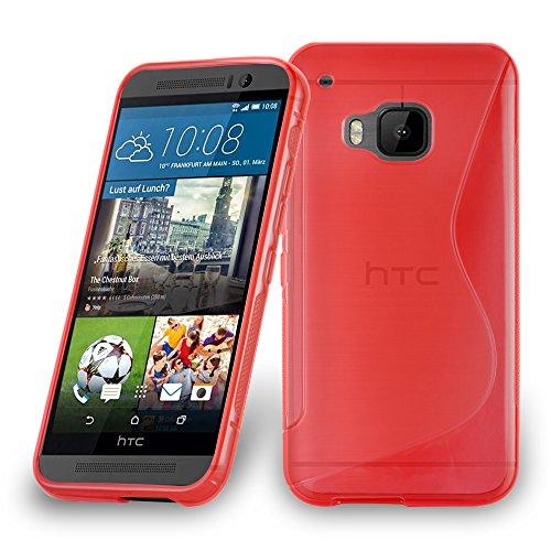 Cadorabo DE-105194 HTC ONE M9 Plus/ONE ME Handyhülle aus flexiblem TPU Silikon im S-Line Design Rot