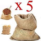 Sacco Juta 45x80 neutro naturale caffè cereali tela yuta regali 5 pezzi