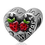Everbling Bead My Heart Erdbeere 925Sterling Silber Passend für Pandora Charme Armband