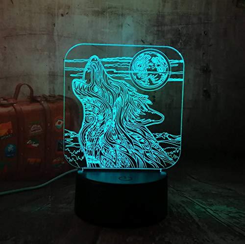 Heulen Wolf 3D Led Acryl Nachtlicht Usb Touch Control Hause Kinder Schreibtischlampe Kind Weihnachtsgeschenk ()