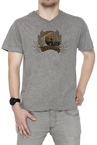 Mustang Uomo V-Collo T-shirt Grigio Cotone Maniche Corte Grey Men's V-neck T-shirt