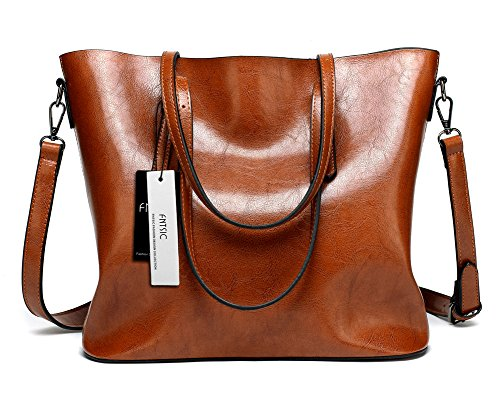 - 516IWjvupFL - FNTSIC Women's PU Leather Handbags Elegant Ladies Shoulder Bags Classic Tote Bags Top-Handle Bags Large Capacity Shopping Bags Cross-Body Bags (Brown)