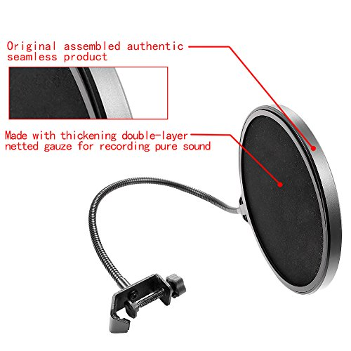 Neewer® NW(B-3) 6 Zoll Studio Mikrofon Mic Runde Form Wind Popschutz Maske Schild mit Stand Clip (schwarzer Filter) -