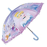 PERLETTI - Disney Princess Umbrella for Girl - Cinderella Characters Printed - Walking Stick Brolly with Ruffles - Windproof Fiberglass - Automatic Safety Opening - Diameter 80 cm - Lilac