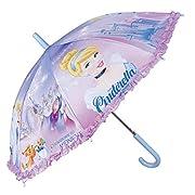 Ombrello bambina Principesse Disney - Ombrello bambina Cenerentola lilla con volant, resistente, antivento e lungo - Sicuro con puntine arrotondate e bloccate - Apertura automatica - Perletti