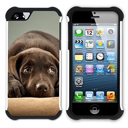 Graphic4You Labradorhund Labrador Retriever Hund Hündchen Tier Hart + Weiche Kratzfeste Hülle Case Schale Tasche Schutzhülle für Apple iPhone SE / 5 / 5S Design #5