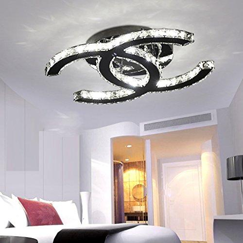 ... 28W LED Deckenleuchte Moderne Einfache Romantische Wohnzimmer Esszimmer  K9 Crystal Klar Deckenlampe Elegante Edelstahl Spiegel Lampe ...