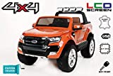 RIRICAR Ford Ranger Wildtrak 4X4 LCD Luxury, Elektro Kinderfahrzeug, LCD-Bildschirm, lackiert orange - 2.4Ghz, 2 x 12V, 4 X Motor, Fernbedienung, 2-Sitze in Leder, Soft Eva Räder, Bluetooth
