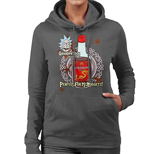 Rick And Morty Mulan Szechuan Sauce Women's Hooded Sweatshirt Anthracite