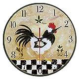 QIAOB Vintage Madera Creativo Reloj de Cuarzo montado en la Pared Simple Creativo Reloj de Pared-Sala de Estar/Dormitorio y Cocina,A