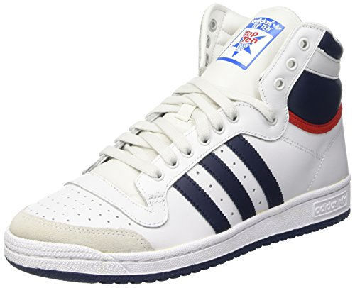 adidas Top Ten Hi, Baskets mode mixte adulte - Blanc (Neo White S08/New Navy Ftw/Collegiate Red), 36 2/3 EU